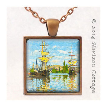 Monet's Ships Riding on the Seine at Rouen - Old Masters' Classic Artwork - Key Ring or Pendant - Your Choice of Finish