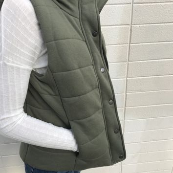 Hit The Slopes Vest In Olive