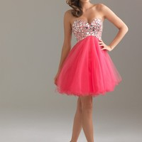Night Moves 6410 Coral Cocktail Dress