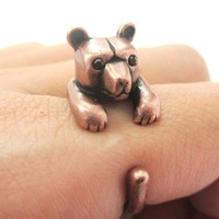 3D Baby Polar Bear Wrapped Around Your Finger Shaped Animal Ring in Copper | US Size 4 to 8.5