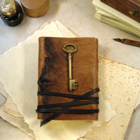 Key Journal, Parchment Paper, Brown Leather Journal with Key in Vintage Style – A Little Secret