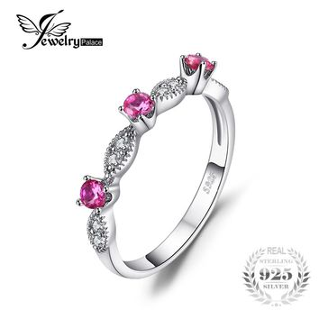 JewelryPalace 3 Stone Round 0.45ct Created Ruby Engagement Wedding Rings For Women 925 Sterling Silver 2017 Fashion Fine Jewelry