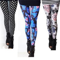Novelty Pretty Long Leggings Dot Britain Flag Printed Leggings Summer Fall Slim Women Leggings 5 Patterns On Sale