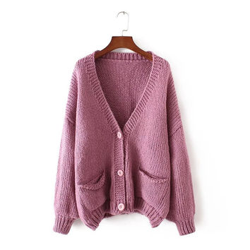 Winter Needles With Pocket Lights Sweater Thicken Jacket [8541317895]