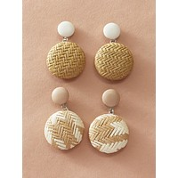 2pairs Braided Round Drop Earrings