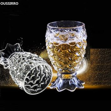 OUSSIRRO 2Pcs/set Ultra Clear Mermaid Fish scal Glass Cup Wine Brandy Liquor Beer Water Thicken Wine Glass For Home Bar Party
