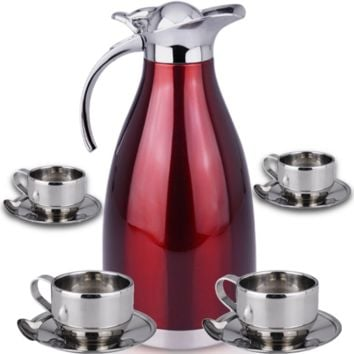 "Thermal Carafe Plus Coffee Tea Mugs by Chefcooâ""¢ Includes Pitcher, 4 Mugs Saucers"