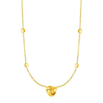 Station Necklace with Love Knot and Round Beads in 14K Yellow Gold