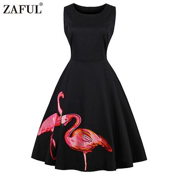 ZAFUL Plus Size Black Embroidery Flamingo Print Party Vintage Dress Sleeveless O Neck Zipper Vestidos Elegant Style Retro Dress