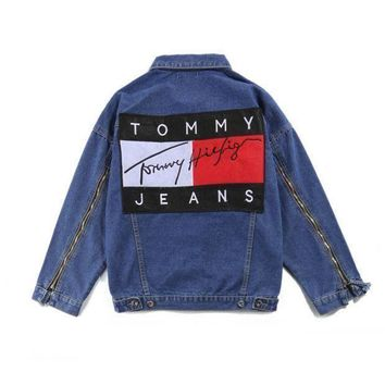 Tommy Jeans Lover Zipper sleeves Denim Cardigan Jacket Coat