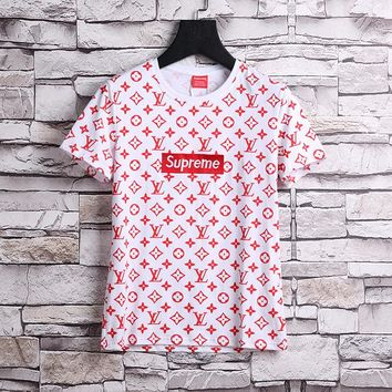 LOUIS VUITTON x SUPREME LV Red Box Logo/ Monogram T-Shirt - White - Red