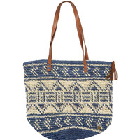 Billabong - East Of Dover Straw Tote | Deep Sea Blue