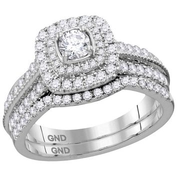 14kt White Gold Womens Round Diamond Halo Bridal Wedding Engagement Ring Band Set 1.00 Cttw