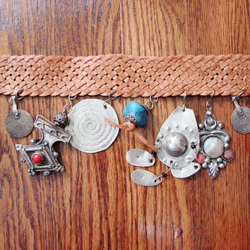 VINTAGE Antique RARE Moroccan Ethnic Tribal Belly Dancer Wedding Charm Belt