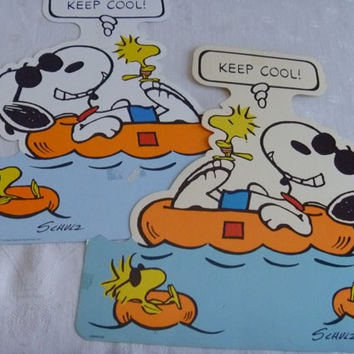 Peanuts Character Plastic Hanging Signs Snoopy | Keep Cool | Beach Signs 1971