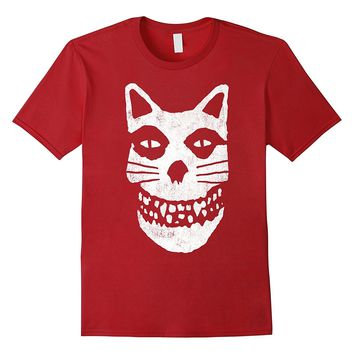 Meowsfits Kitty Skull Vintage Faux Band Graphic T-Shirt