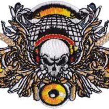 Skull With Guitars Iron-On Patch