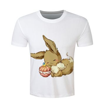 Pokemon Eevee T shirt Vibrant Cute Anime T-shirt Summer Fashion Casual Tee Tops Man Clothing Camisa Alisister