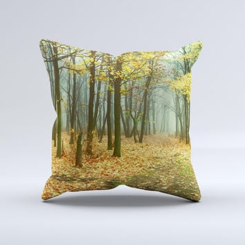 Subtle Gold Autumn Forrest Ink-Fuzed Decorative Throw Pillow