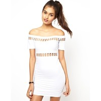 Motel Dame Off Shoulder Body-Conscious Dress With Cut Outs