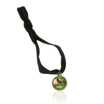 Hungry Red Fox Stretchy Elastic Hair Tie w- Brass Charm