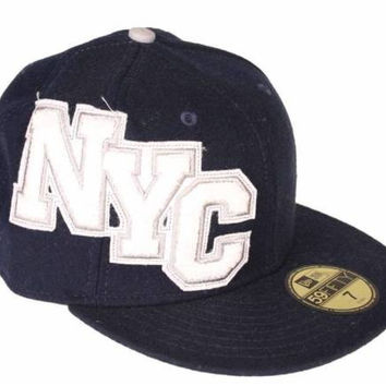 New Era Cap Fitted NYC Wool Navy White Logo 7 1/8