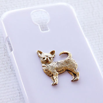 Chihuahua White and Gold Samsung S4 Sassy Galaxy Hard Cover Phone Case iPhone 6 Case