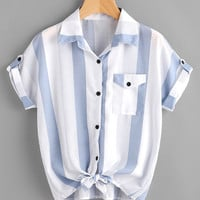 Contrast Striped Roll Tab Sleeve Knotted Hem Shirt -SheIn(Sheinside)