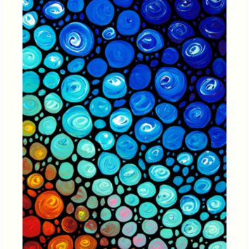 Abstract 2 - Colorful Blue Mosaic Abstract Art Print by Sharon Cummings