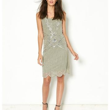 Frock & Frill Zelda Flapper Dress - taupe grey with silver embellishment flapper dress