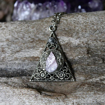 Raw Ruby Necklace w/ Roses, Rose Jewelry, Pyramid Necklace, Gift for Her, Triangle Pendant, Bohemian Jewelry, Gothic Jewelry, Pagan Necklace