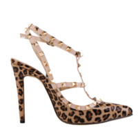 Women Fashion Leopard Rivets Shallow Mouth Pointed Sandals Heels Shoes