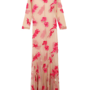 Floral Embroidery 3/4 Sleeve Sheer Maxi Beach Dress