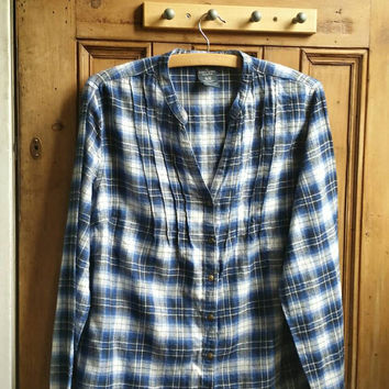 Flannel shirt / casual women's blouse / vintage clothing UK / large oversized shirts / checked / collarless pleated / Dolly Topsy Etsy