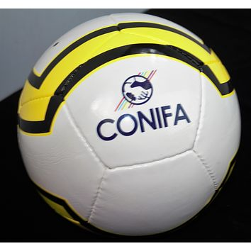Soccer ball Conifa brand color yellow, black and white