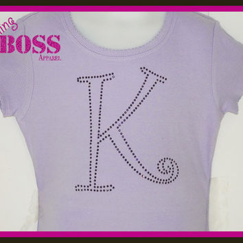 Swarovski Initial or Name Shirt rhinestone Onesuit Bling Team Tee Sparkle Girls Baby Custom Personalized Custom Colors Sports Personalized