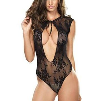 ESBI7E Stretch lace g-string teddy with keyhole tie front detail in BLACK