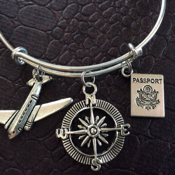 Travel Plane, Passport, Compass Expandable Adjustable Silver Wire Bangle Gift Trendy Unique Bracelet Trendy Fun Unique Handmade Made in USA