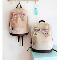 Fashionable backpack, backpack for middle school students, travel package,Computer bag,PU leather waterproof backpack, Bowknot and lace