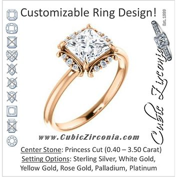 Cubic Zirconia Engagement Ring- The Tiara Rose (Customizable Princess Cut Design with Thin Band & Semi-Halo)