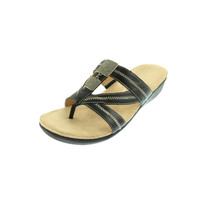 Naturalizer Womens Waylon Leather Embelished Slide Sandals