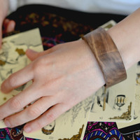 Gyspsy bohemian boho tarot brown  walnut wood bracelet bangle