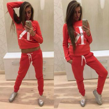 """Calvin Klein"" CK fashion print sweater long sleeve set RED"