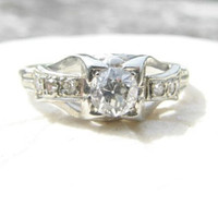 Art Deco Diamond Engagement Ring, Fiery Old European Cut Diamond, 18K White Gold, Lovely Design and Profile, Circa 1930s