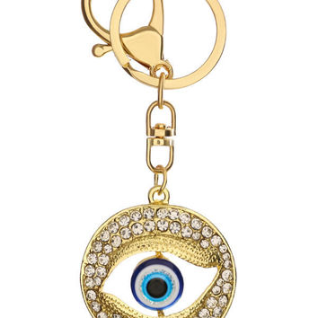 Hollow Eye Round Rhinestone Keychain