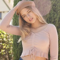 Candy Cinched Front Sweater Top   PacSun