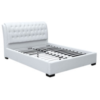 Bianca Modern Bed with Tufted Headboard Queen Size White