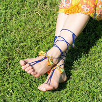 Hippie barefoot sandals with tassels Gypsy foot jewelry Boho footless sandles Bohemian bottomless sandal Soleless sandals Festival clothing