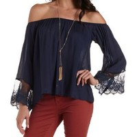 Navy Off-the-Shoulder Top by Charlotte Russe