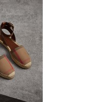Leather and House Check Espadrille Sandals in Dark Tan - Women | Burberry United States